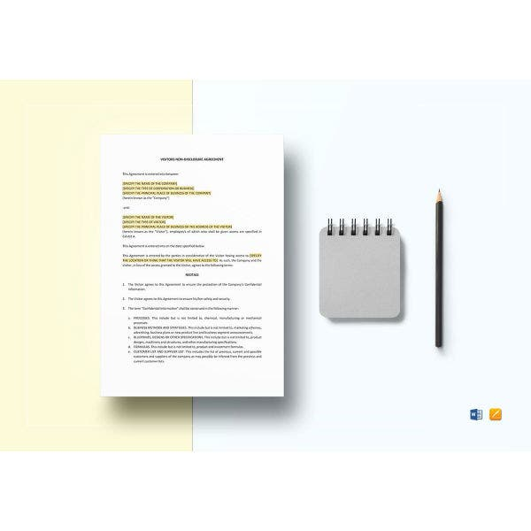 visitors non disclosure agreement template