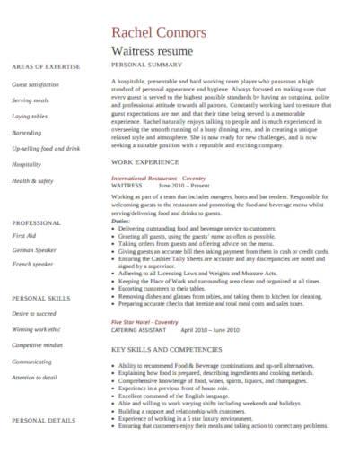 waitress resume in pdf