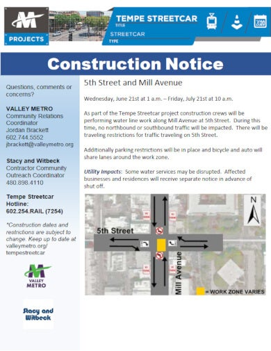 water work construction notice template