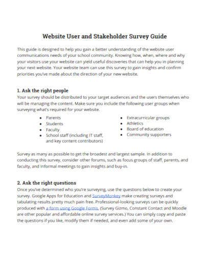 website user and stakeholder survey