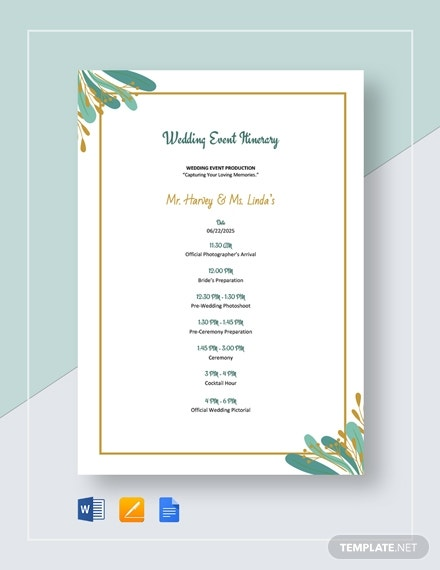 wedding event itinerary template1