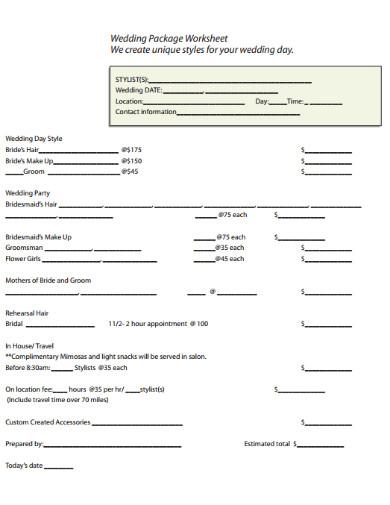 wedding package worksheet