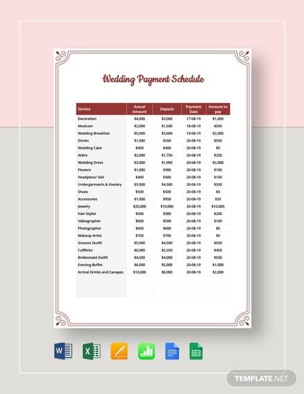 wedding payment schedule template