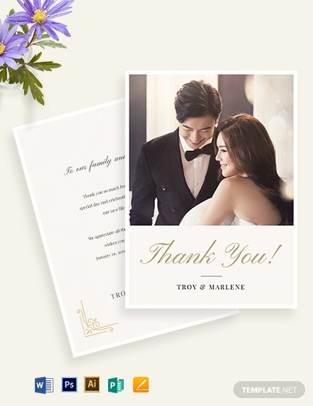 wedding photo thank you note card template