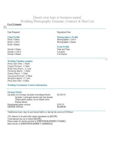 wedding photography estimate format
