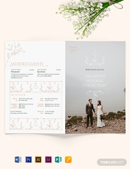 wedding planner bi fold brochure template