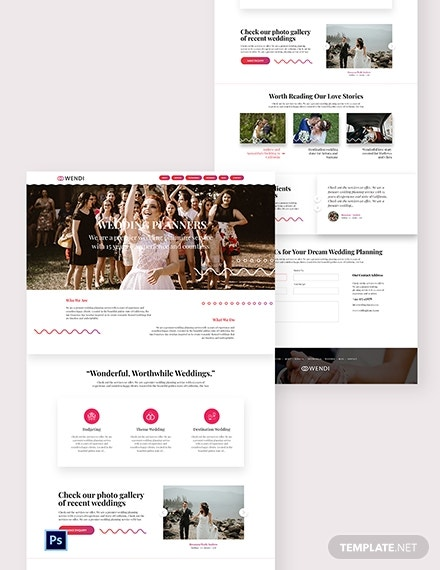 wedding planners psd landing page template