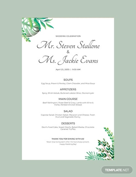 wedding poster menu template