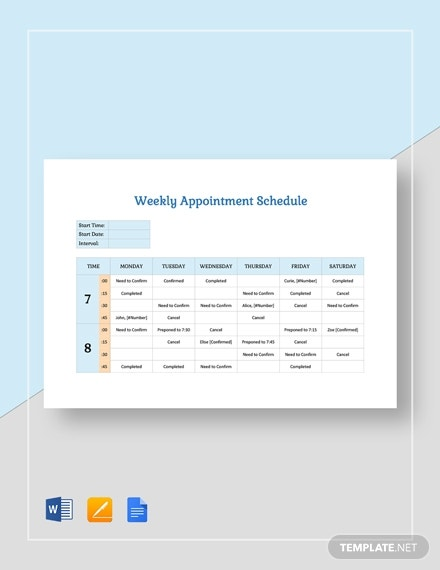 weekly appointment schedule