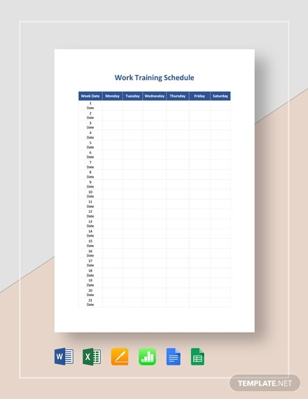 work training schedule