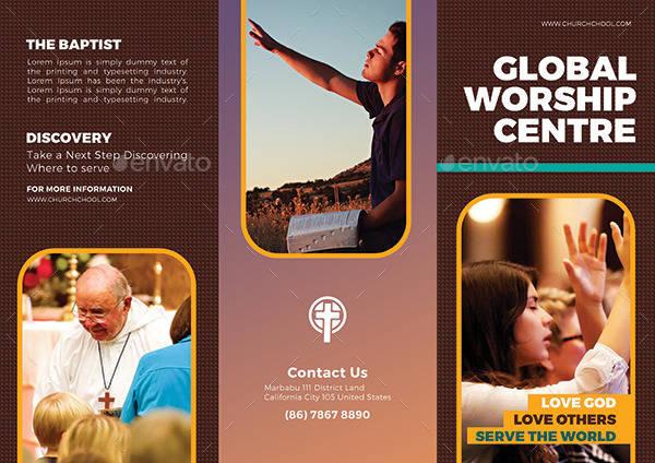 worship church trifold brochure