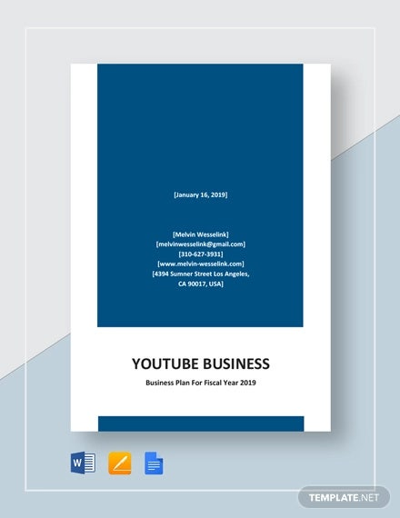 youtube business plan template