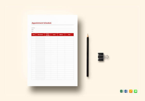 appointment schedule template mockup