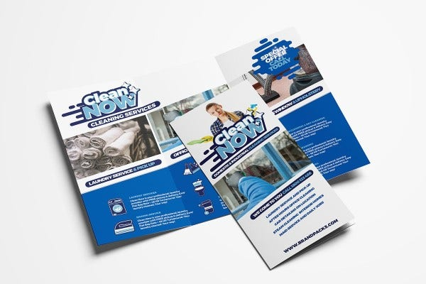 cleaning service tri fold brochure template