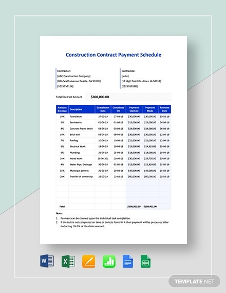 construction contract payment schedule1