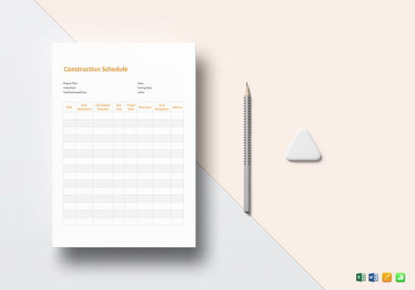 construction schedule template mockup