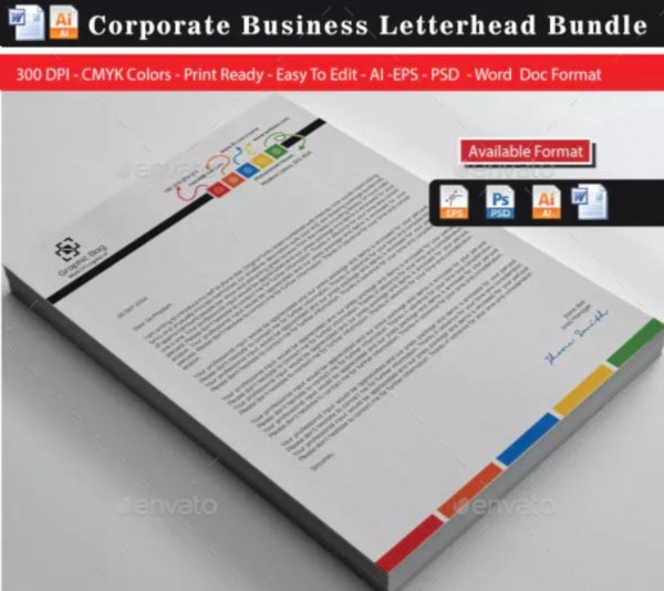 corporate colorful real estate letterhead