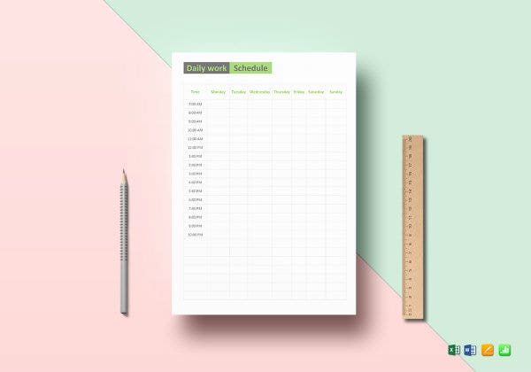 daily work schedule template mockup