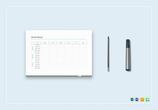 hourly planner template mockup