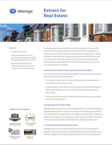 imanage real estate datasheet