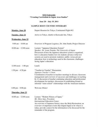 itinerary template 1