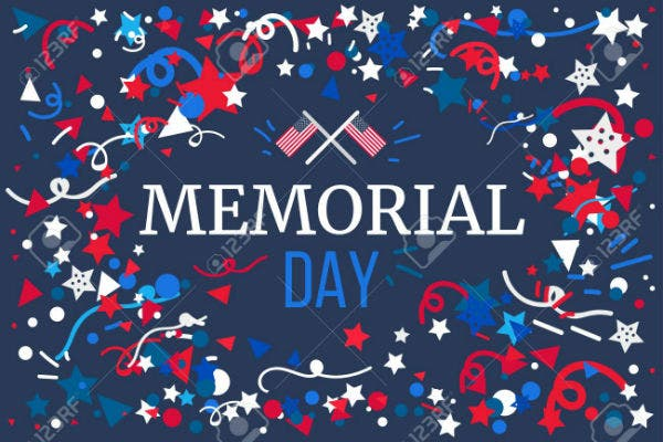 memorial day banner with american flag vector