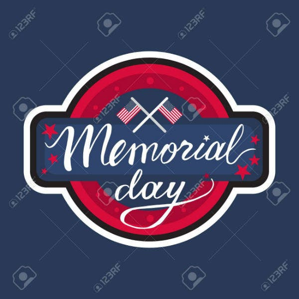 memorial day banner with american flag vector1