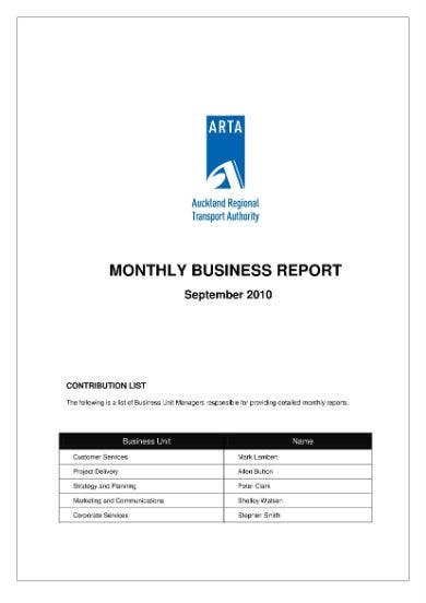 monthly business report 01