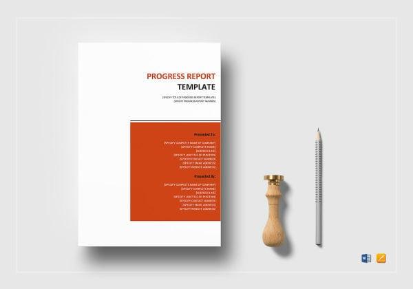 progress report template mockup