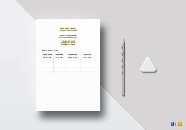 project completion report mockup