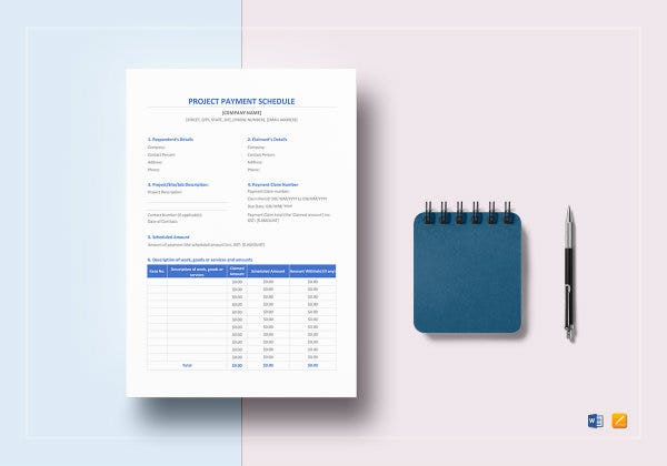 project payment schedule template mockup