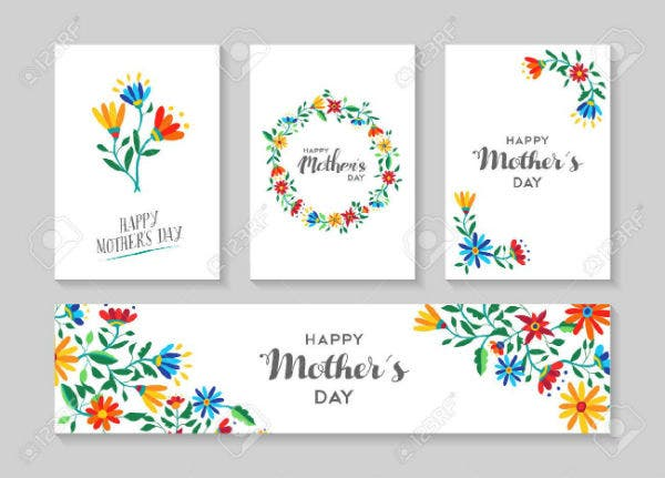 set of retro flower cards template with spring time illustrations for special mothers day family eve