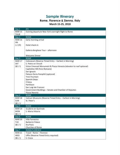 sienna sample itinerary 1
