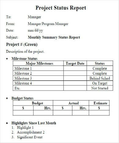 simple project status report example