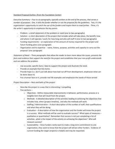 standard proposal outline 1