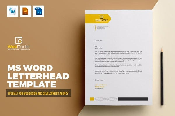 web design and development agency company business ms word psd eps letterhead pad design template