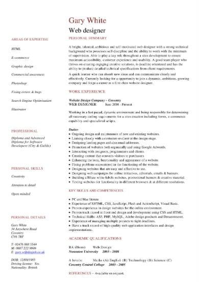 web designer cv