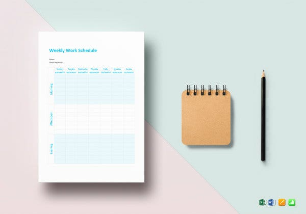 weekly work schedule template mockup