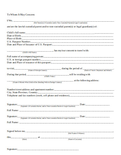 graphic about Printable Child Travel Consent Form known as 10+ Generate Consent Letter Templates - PDF Cost-free Top quality