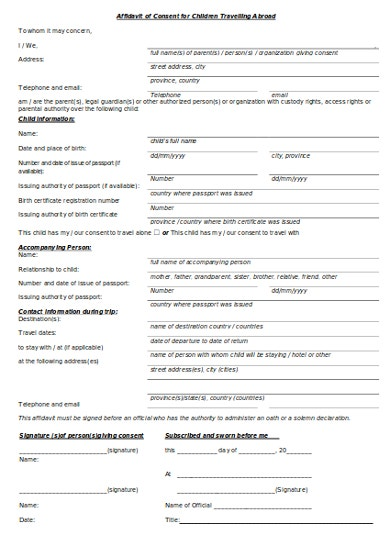 10  travel consent letter templates