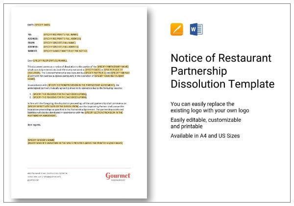 324 notice of restaurant partnership dissolution 1 282 29