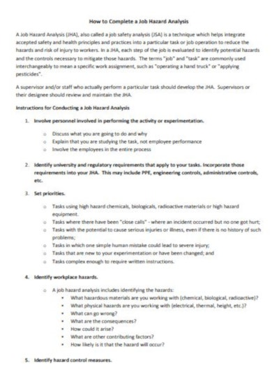 4 page job hazard analysis template