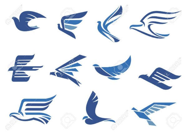 flying-blue-birds-as-eagle-hawk-falcon-and-dove-in-flight-for-business-delivery-transportation-or-tr
