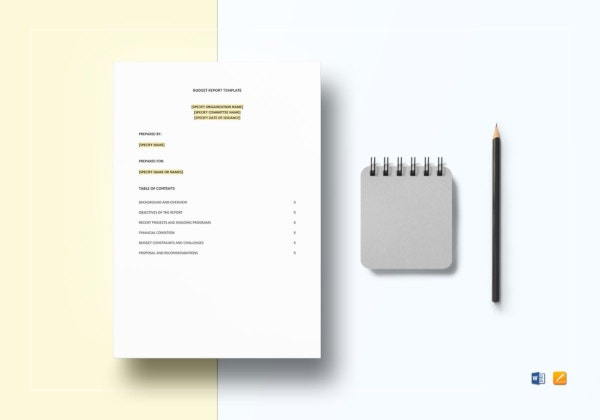 5 page simple budget report template