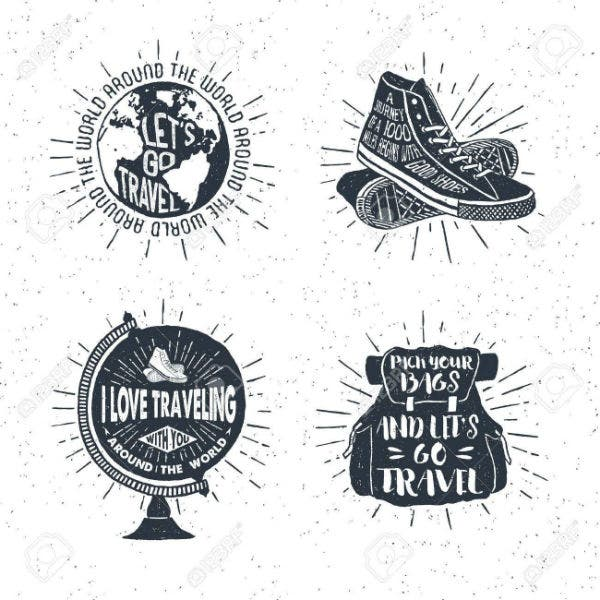 hand-drawn-textured-vintage-labels-retro-badges-set-with-globe-sneakers-bag-and-lettering-vector-ill