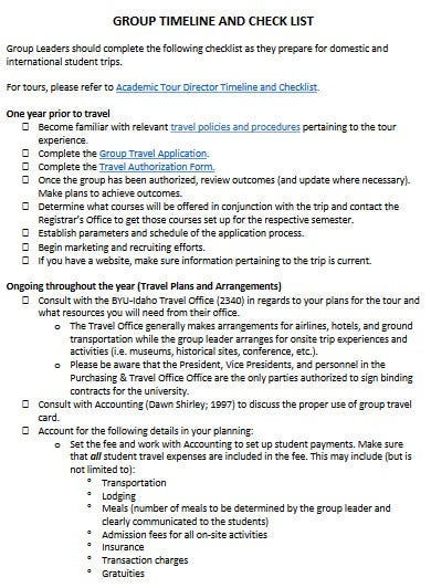 a compact group travel planning checklist template