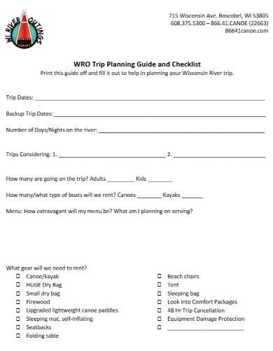 a comprehensive river travel planning checklist template