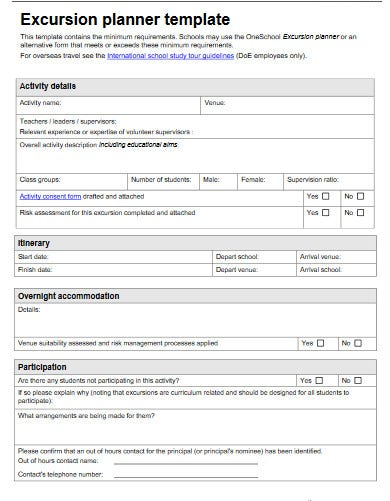 a standard excursion planning checklist template