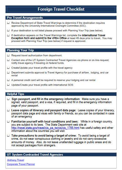 a standard foreign travel planning checklist