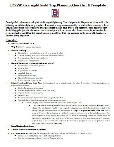 a well formatted overnight travel planning checklist template